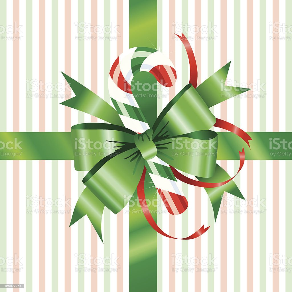 Green Bow with Candy Cane royalty-free green bow with candy cane stock vector art & more images of backgrounds