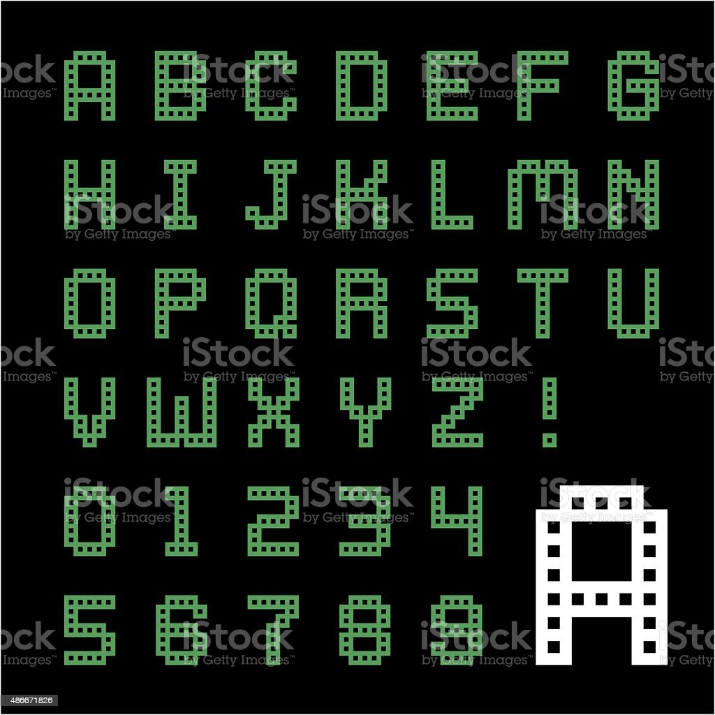 Green Box Pixel Font Stock Vector Art  More Images Of
