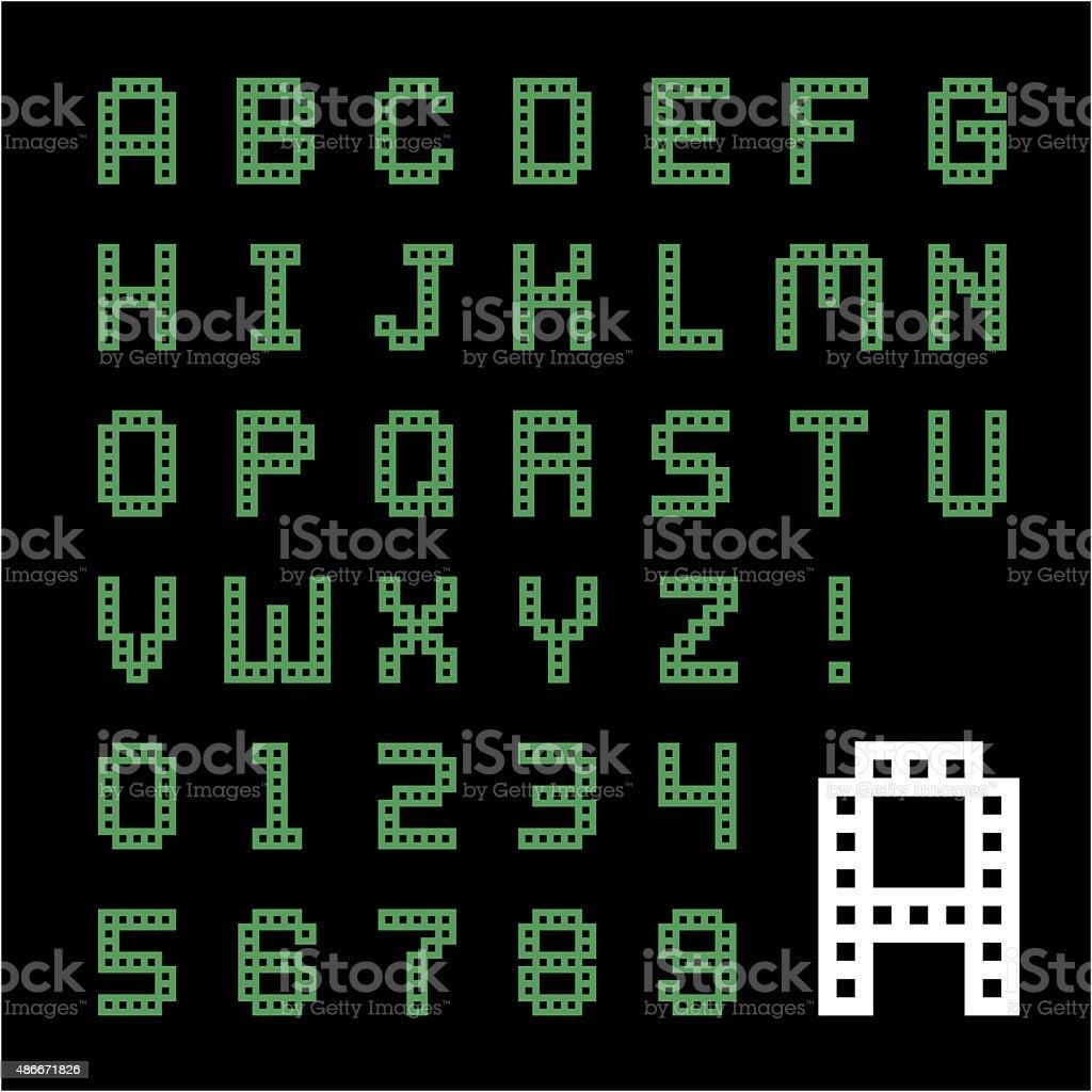 Green Box Pixel Font Stock Vector Art  More Images Of