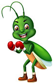 Green Boxer Mantis With Red Boxing Gloves Cartoon for your design