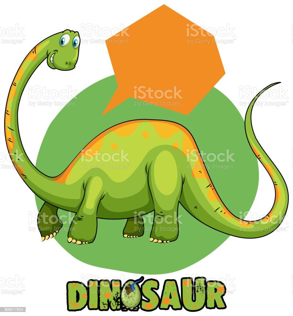 green brachiosaurus and speech bubble template stock vector art