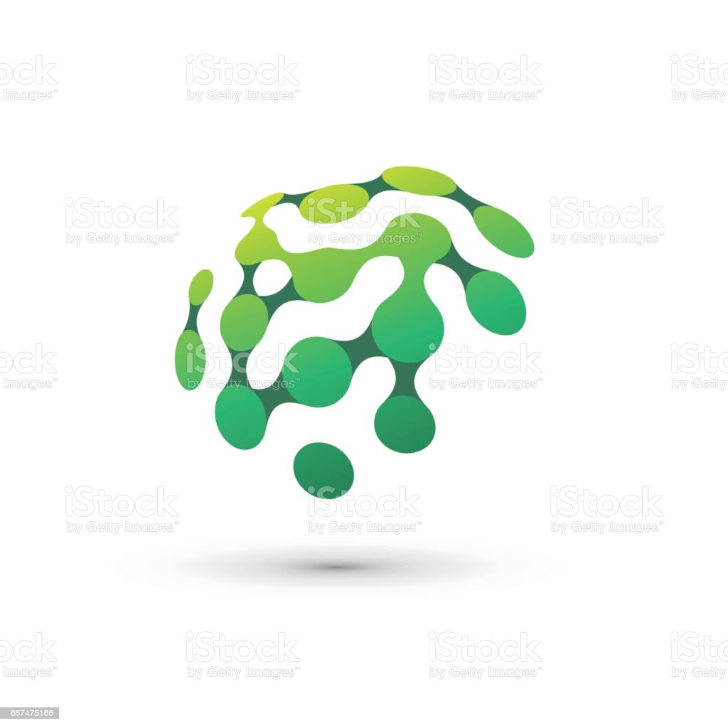 green brain logo illustration vector art illustration