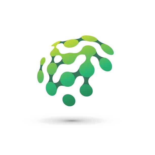 ilustraciones, imágenes clip art, dibujos animados e iconos de stock de ilustración del logo de cerebro verde - logotipos de investigación