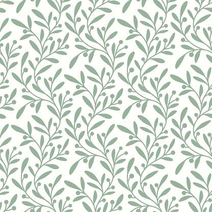 Green Branch. Seamless Pattern.