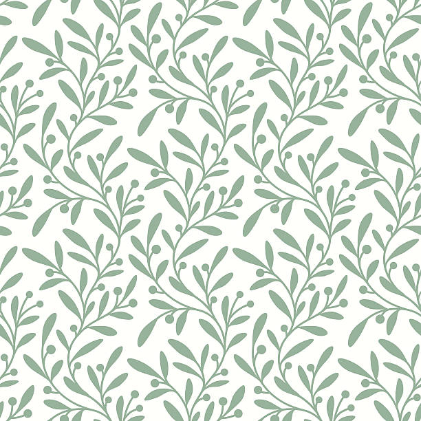 stockillustraties, clipart, cartoons en iconen met green branch. seamless pattern. - bloemenmotief