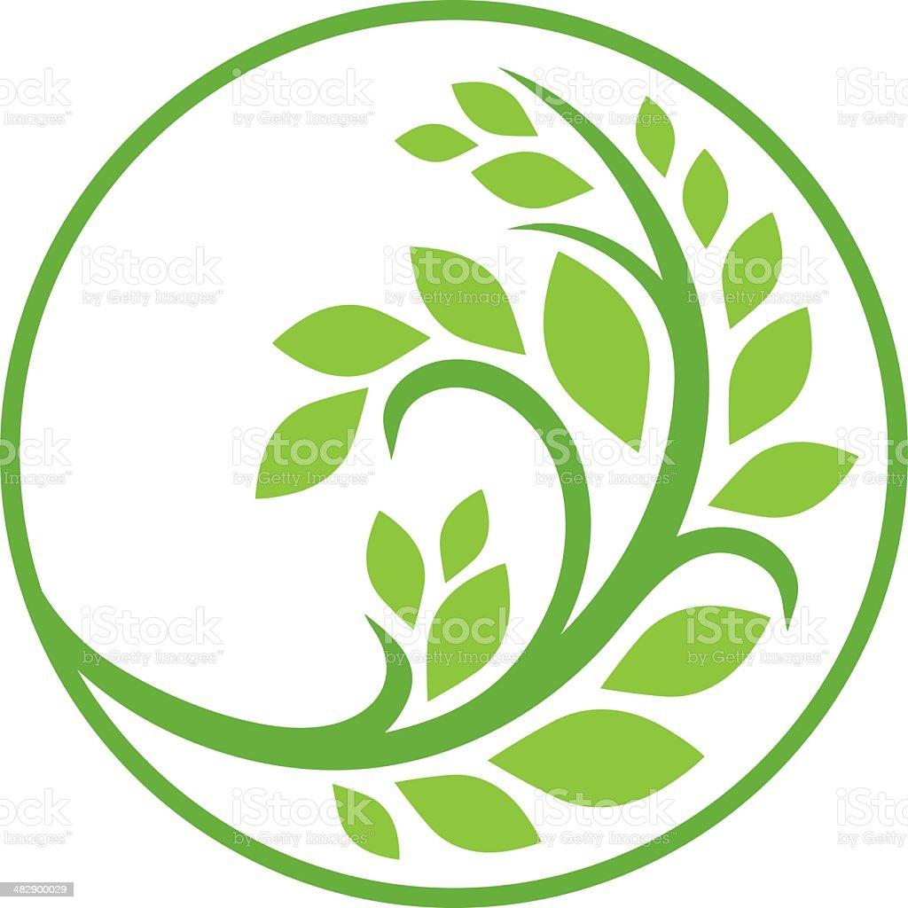 Green branch vector art illustration
