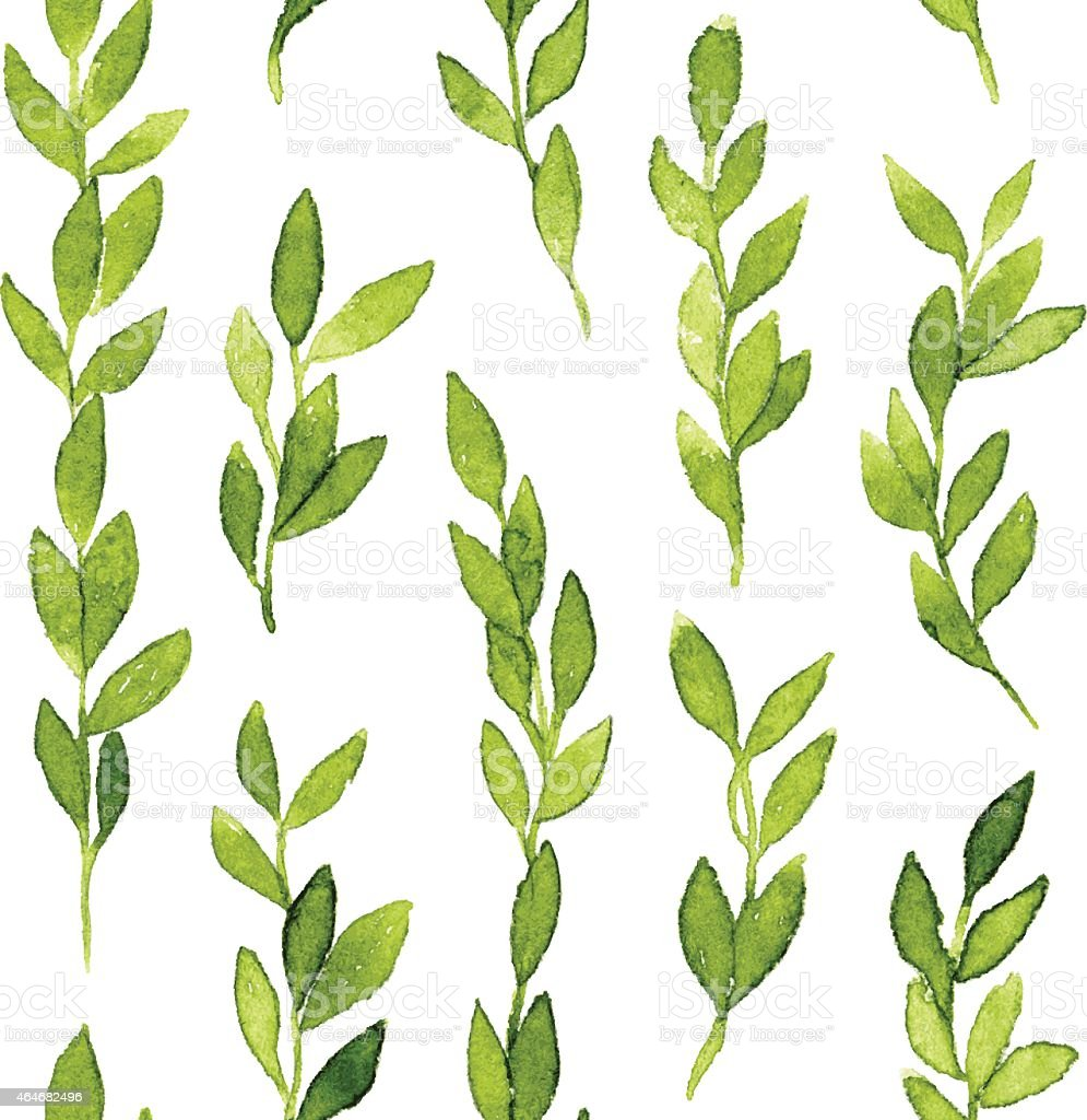 Green branches and leaves seamless pattern vector art illustration