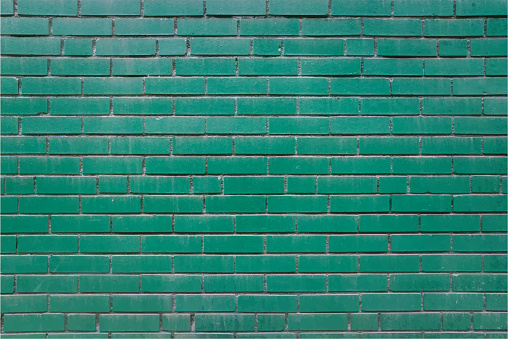 Green Brick Wall Copy Space Mural Grunge Background Vector Illustration