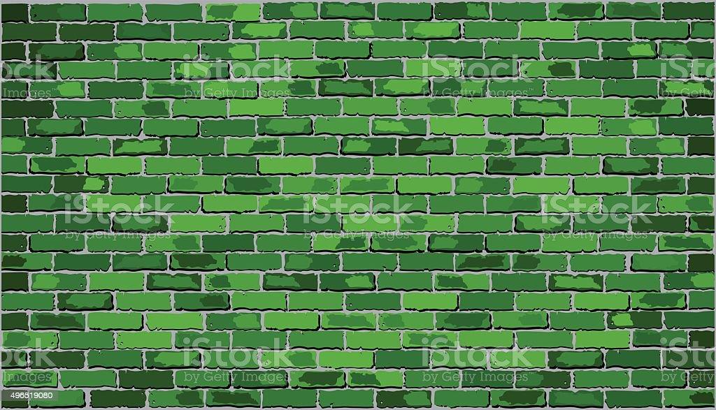 Green brick wall vector art illustration