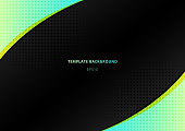 Green bright color triangle and geometric element with black space background with radial halftone. Vector illustration