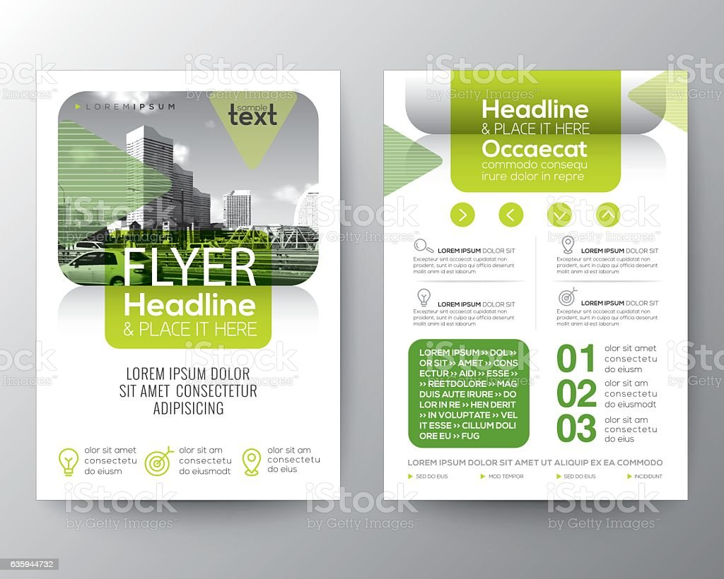 green brochure cover flyer poster design layout template アイデア