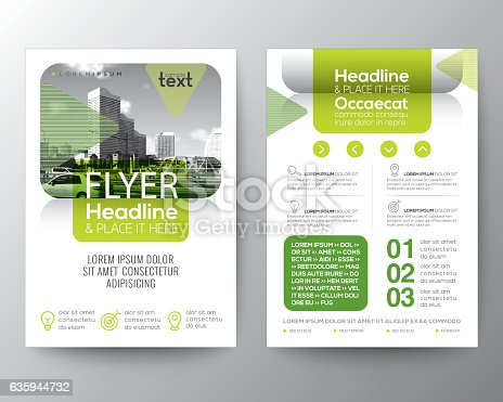 Green Brochure Cover Flyer Poster Design Layout Template Stock