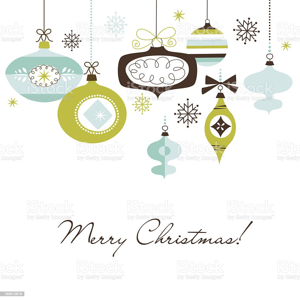 Green brown and blue animated Christmas ornaments vector art illustration