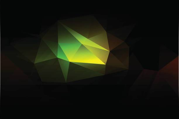 Green brown yellow black low poly background vector art illustration