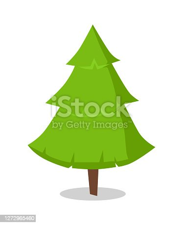 Green bushy Christmas tree icon isolated on white background. Symbol of Xmas and New Year, spruce plant, evergreen pine vector illustration