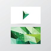 trendy business card mockup templates for company visual identity in modern low polygon style- triangular geometric composition design in blue and green shades with design element icon