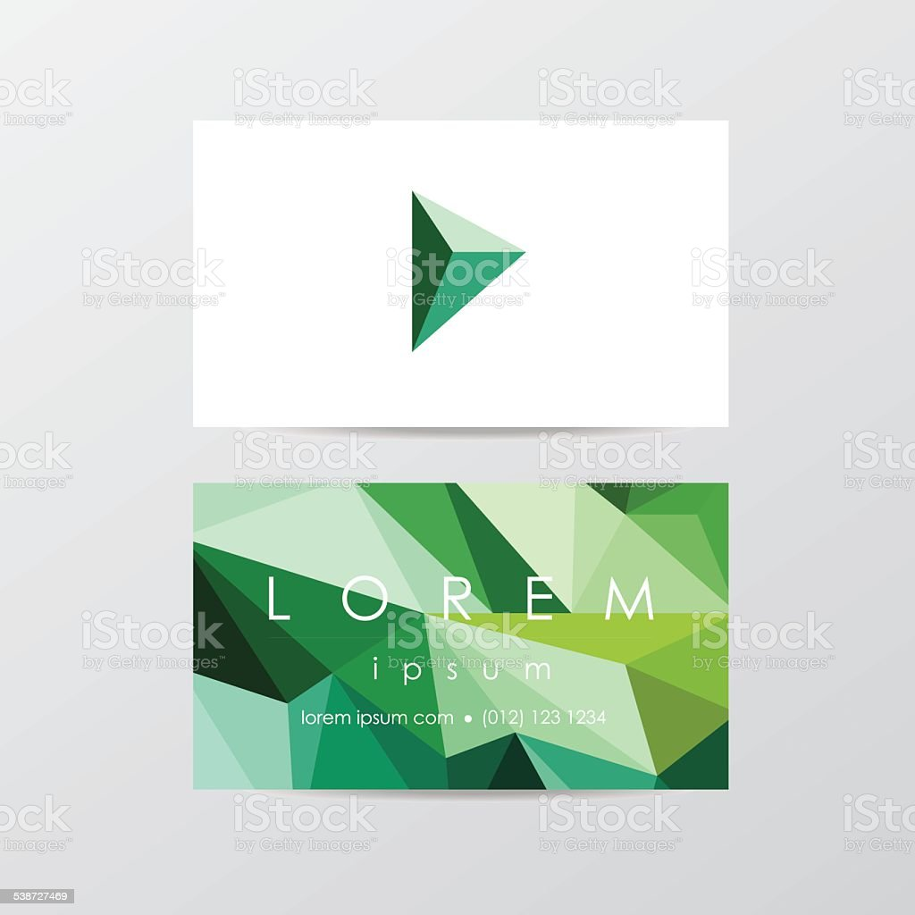 green business card mockup in modern low polygon style vector art illustration