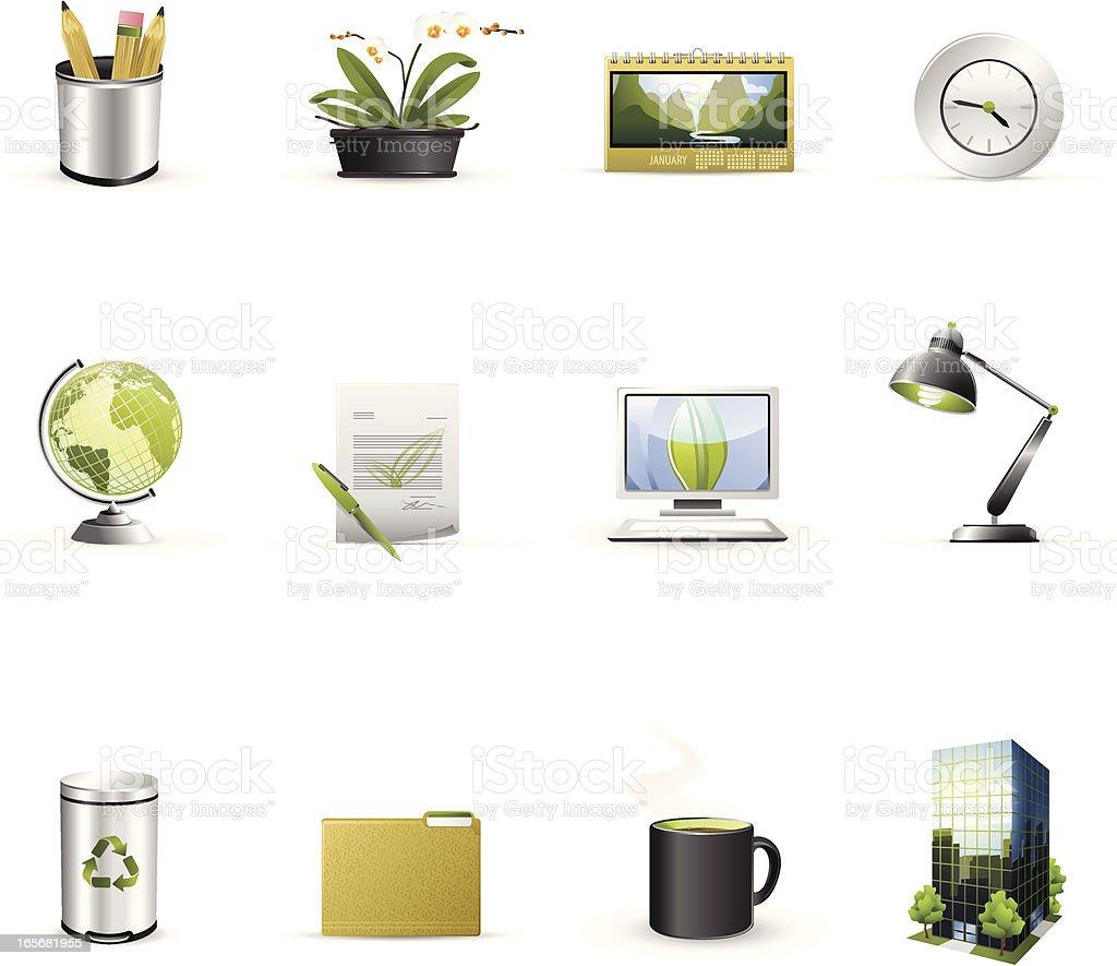 Green Business Icons vector art illustration