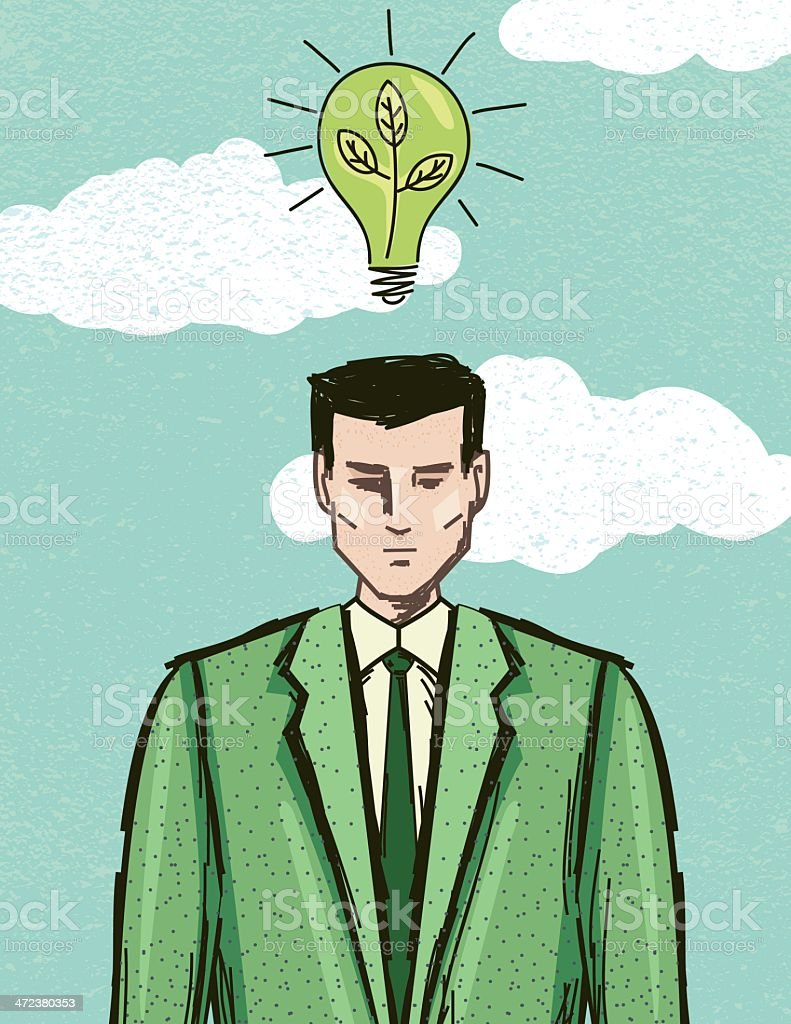 Green Business Man Environmental Thinking Concept royalty-free stock vector art