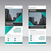 Green Business Roll Up Banner flat design template