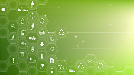 Green Business template and background for Sustainability concept with flat icons