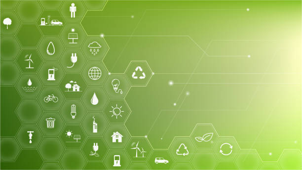 Green Business template and background for Sustainability concept with flat icons Green Business template and background for Sustainability concept with flat icons environmental issues stock illustrations
