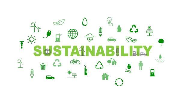 illustrations, cliparts, dessins animés et icônes de modèle d'affaires vert et fond pour le concept de durabilité avec des icônes plates - développement durable