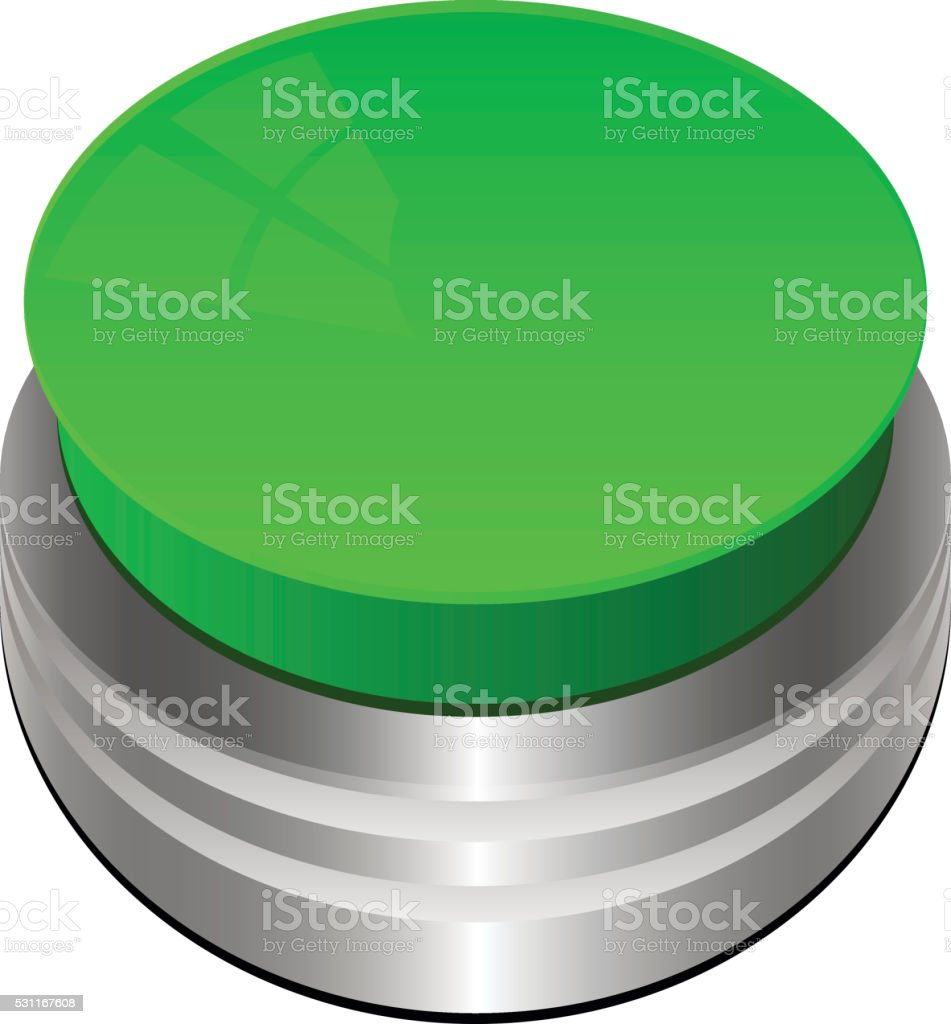 Green Button Isolated on White vector art illustration