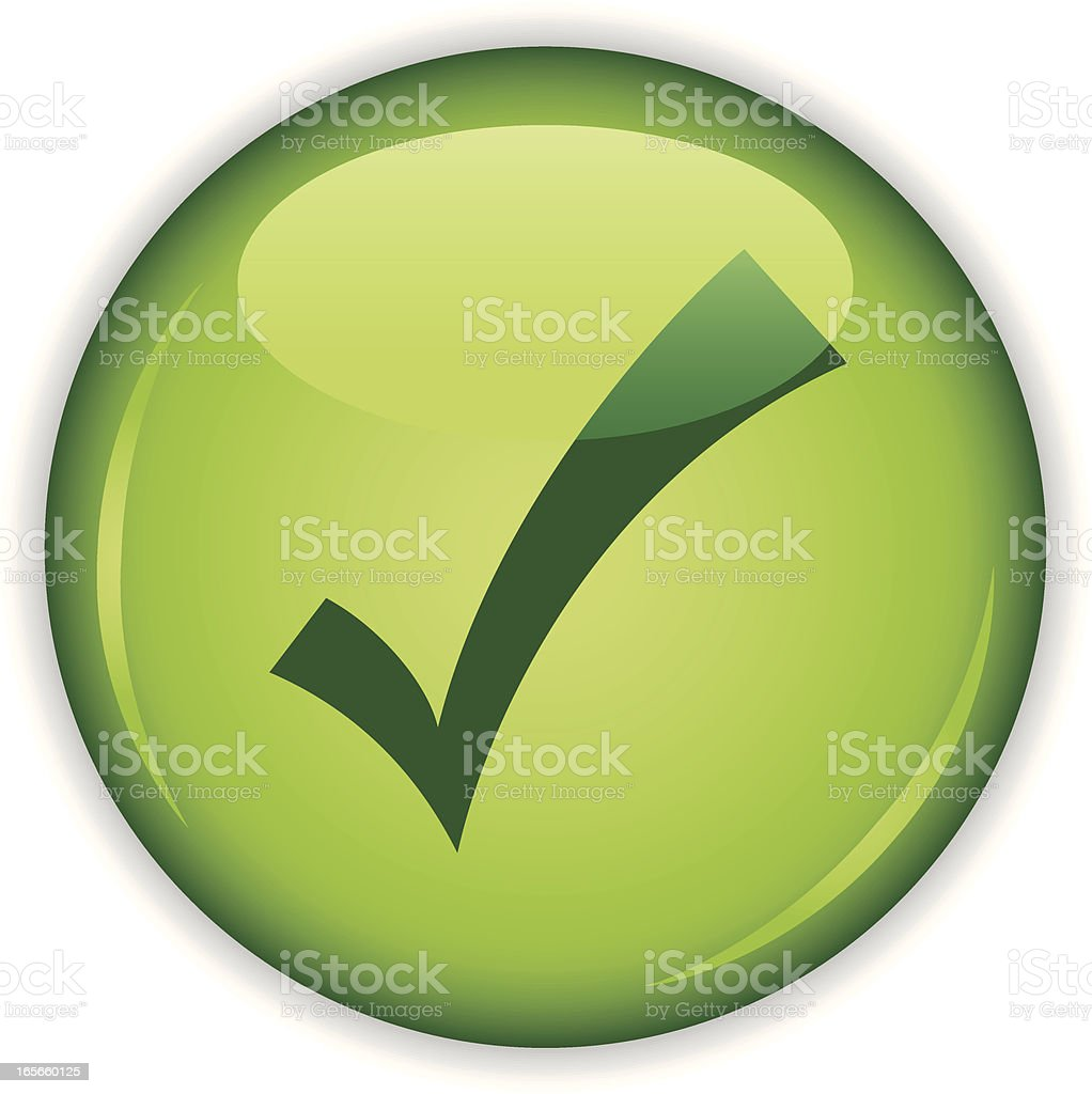 Green button with tick royalty-free green button with tick stock vector art & more images of check mark