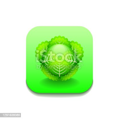 istock Green Cabbage Vegetable Food Logo Vector Symbol Icon Design Style 1291638385