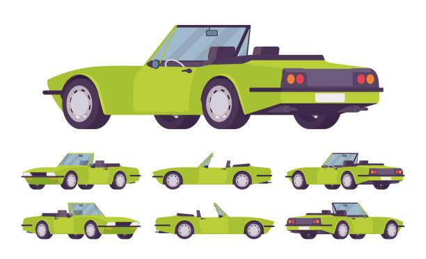 ilustrações de stock, clip art, desenhos animados e ícones de green cabriolet cat set - enjoying wealthy life