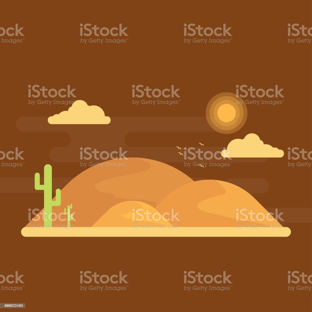 Green cacti grow among the sands. On background is dunes on horisont under the bright sun vector art illustration