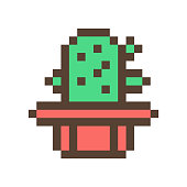istock Green cactus in clay flower pot, 16x16 pixel art icon isolated on white background. Retro 80s-90s old school 8 bit slot machine/video game graphics. Houseplant logo. Office succulent. Symbol of Mexico 1147097038