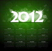 Green calendar for the new year 2012