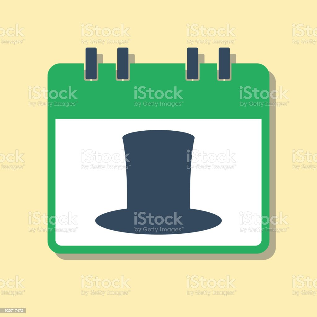 Green Calendar With Leprechaun Hat St Patricks Day Symbol Flat Style