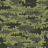 Green camouflage seamless pattern. Abstract pixel background.