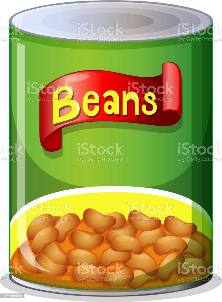 A green can of baked beans with a picture of them below vector art illustration