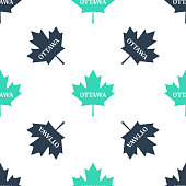 Green Canadian maple leaf with city name Ottawa icon isolated seamless pattern on white background. Vector.