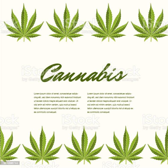 Groene cannabis verlaat. Vector samenstelling - kopie ruimte - Royalty-free Alternatieve geneeswijzen vectorkunst