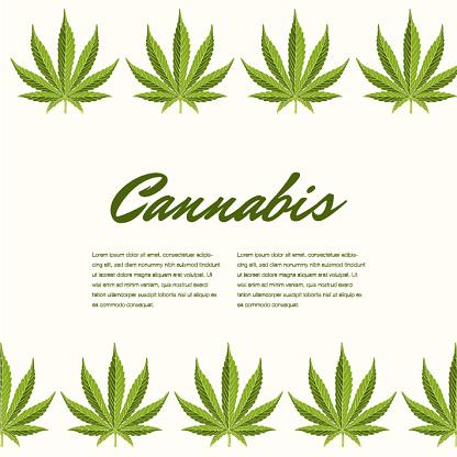 Groene Cannabis Verlaat Vector Samenstelling Kopie Ruimte Stockvectorkunst en meer beelden van Alternatieve geneeswijzen