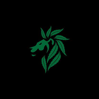 Green Cannabis Lion Brand Identity Logo Template