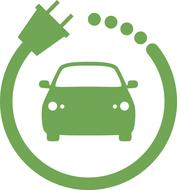 Green Car Charger Icon Vector illustration of a green car charging sign. rechargeable battery stock illustrations