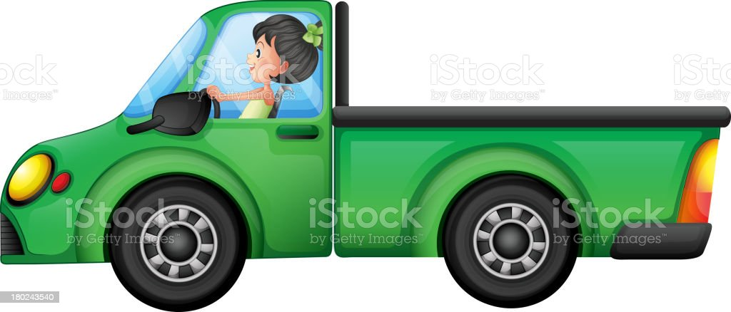 green car driven by a girl royalty-free stock vector art