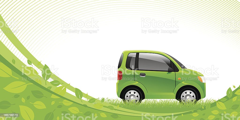 Green car vector art illustration