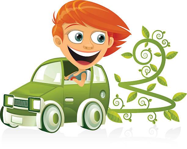 green car - redhead stock illustrations