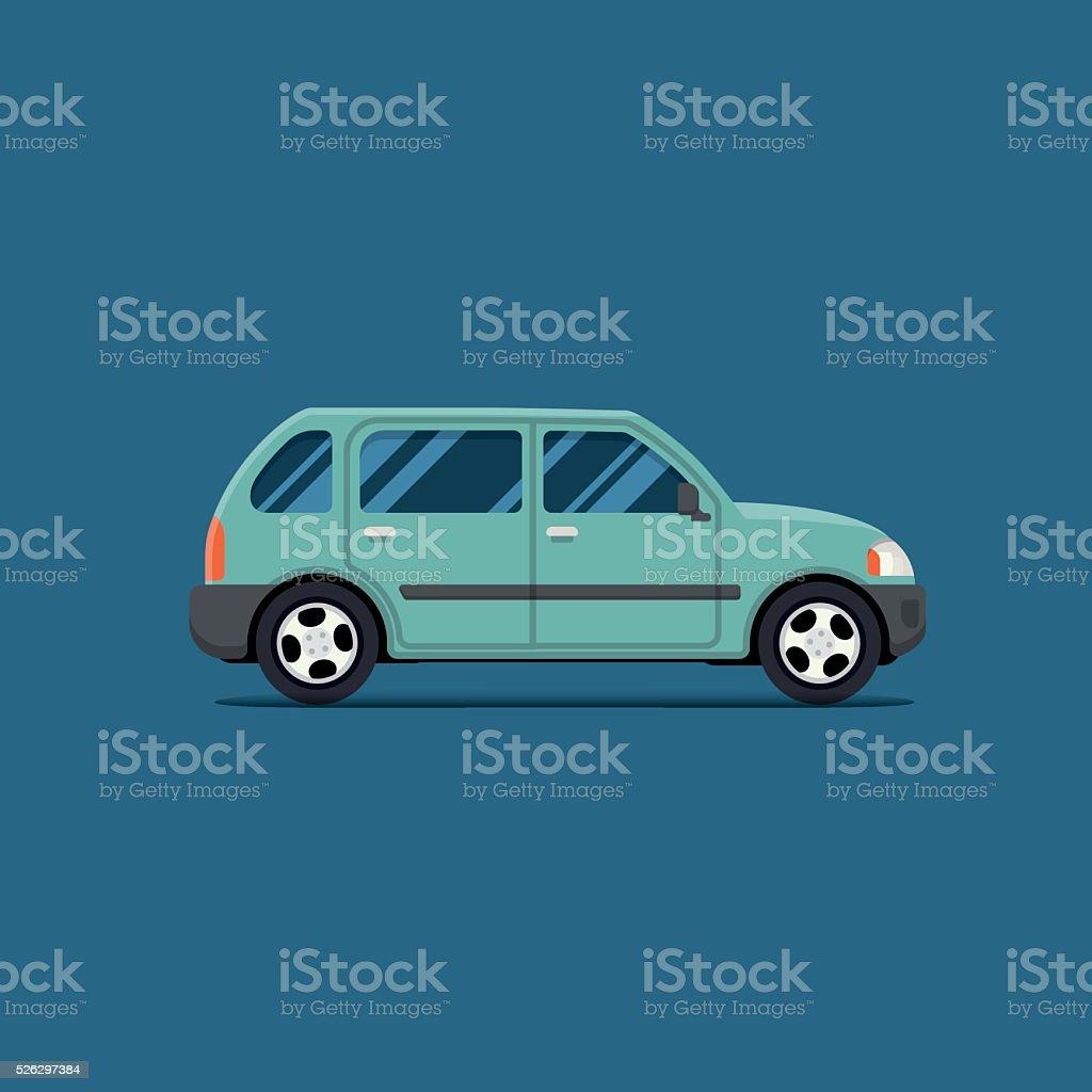 Зеленый автомобиль. Векторный Рисунок. Хэтчбек. векторная иллюстрация