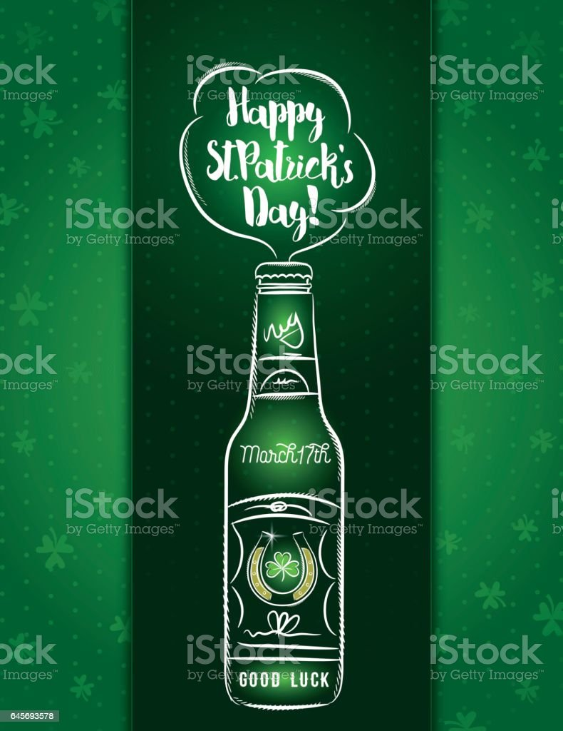 green card for st patricks day with beer bottle horseshoe stock