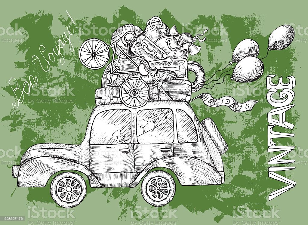 Green card with white retro car and balloons vector art illustration