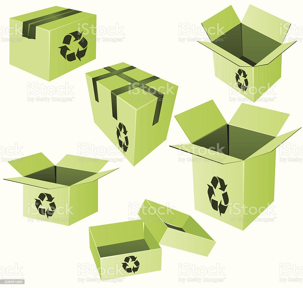 Green cardboard boxes with recycle sign vector royalty-free stock vector art
