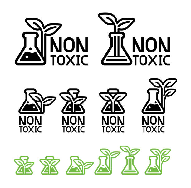Green care and non-toxic from science technology(icon concept). Green care and non-toxic from science technology(icon concept). Environmental chemistry are already certified safety for user product. Eco chemical symbol. poisonous stock illustrations